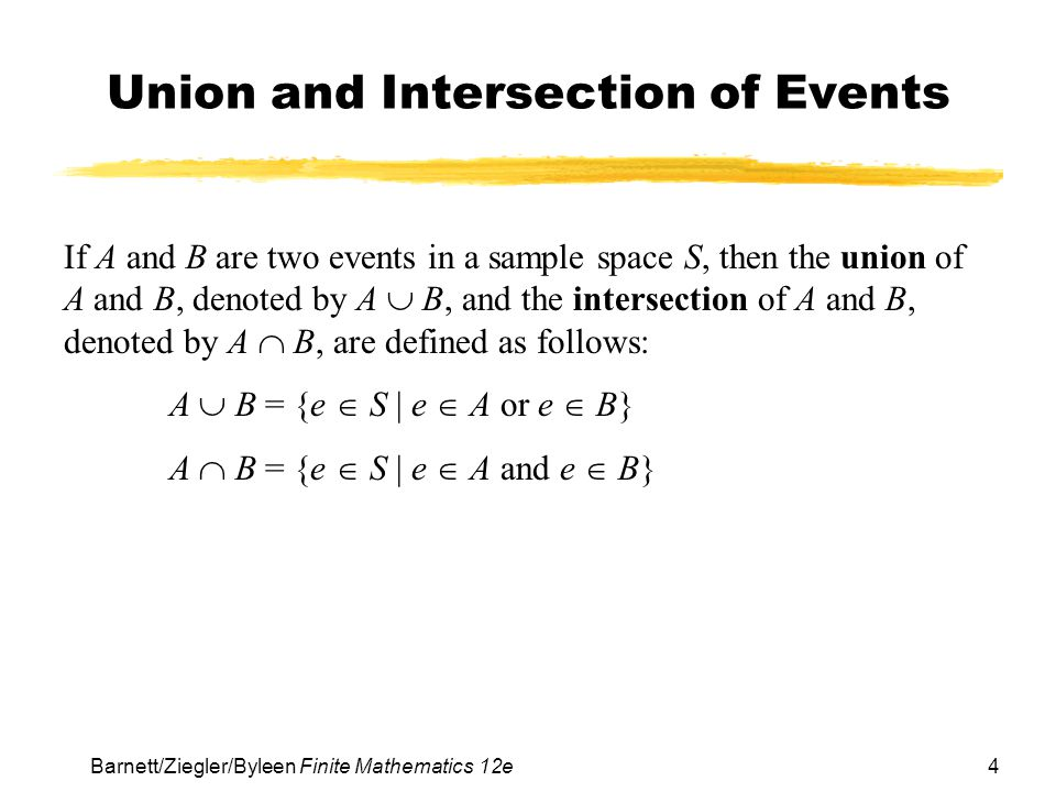 Union and Intersection of Events