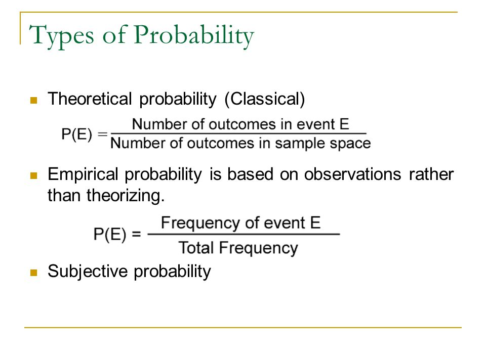 Types of Probability Theoretical probability (Classical)
