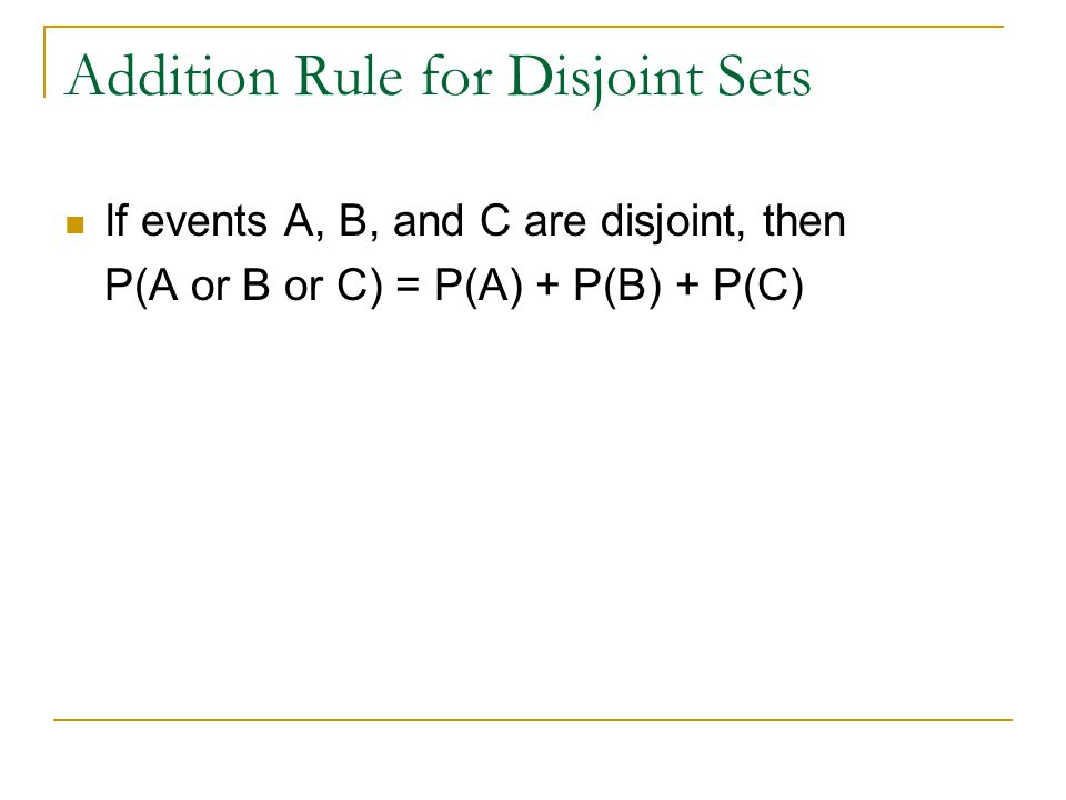 Addition Rule for Disjoint Sets