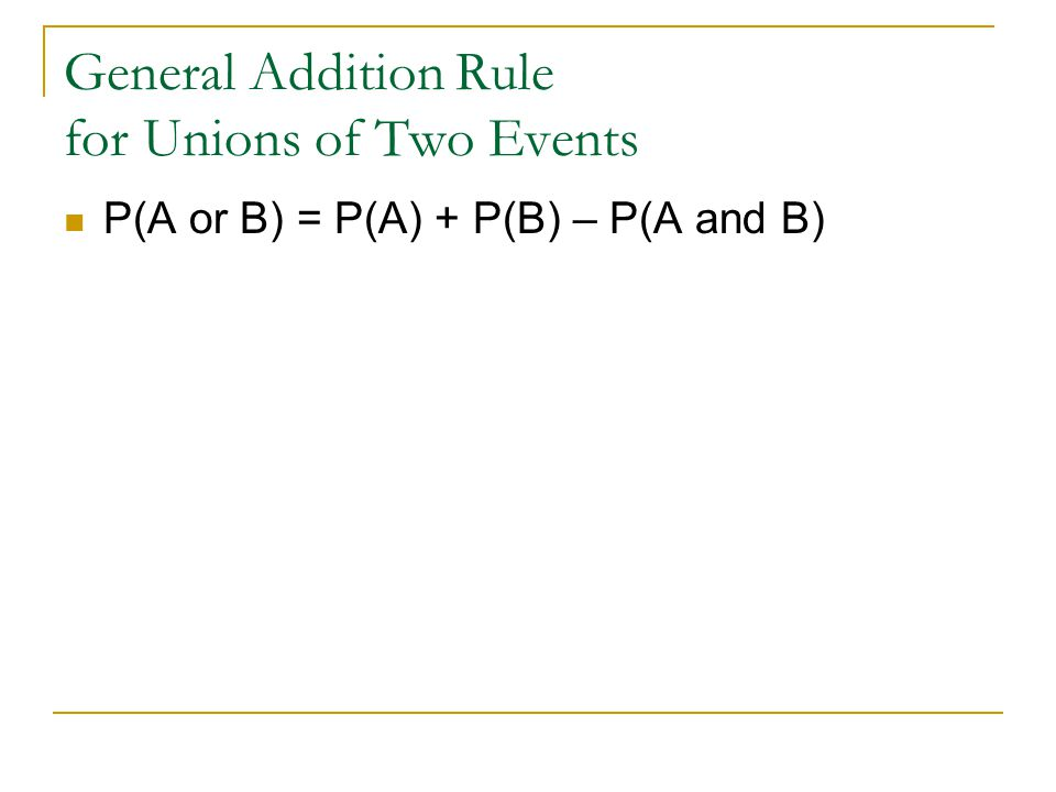 General Addition Rule for Unions of Two Events
