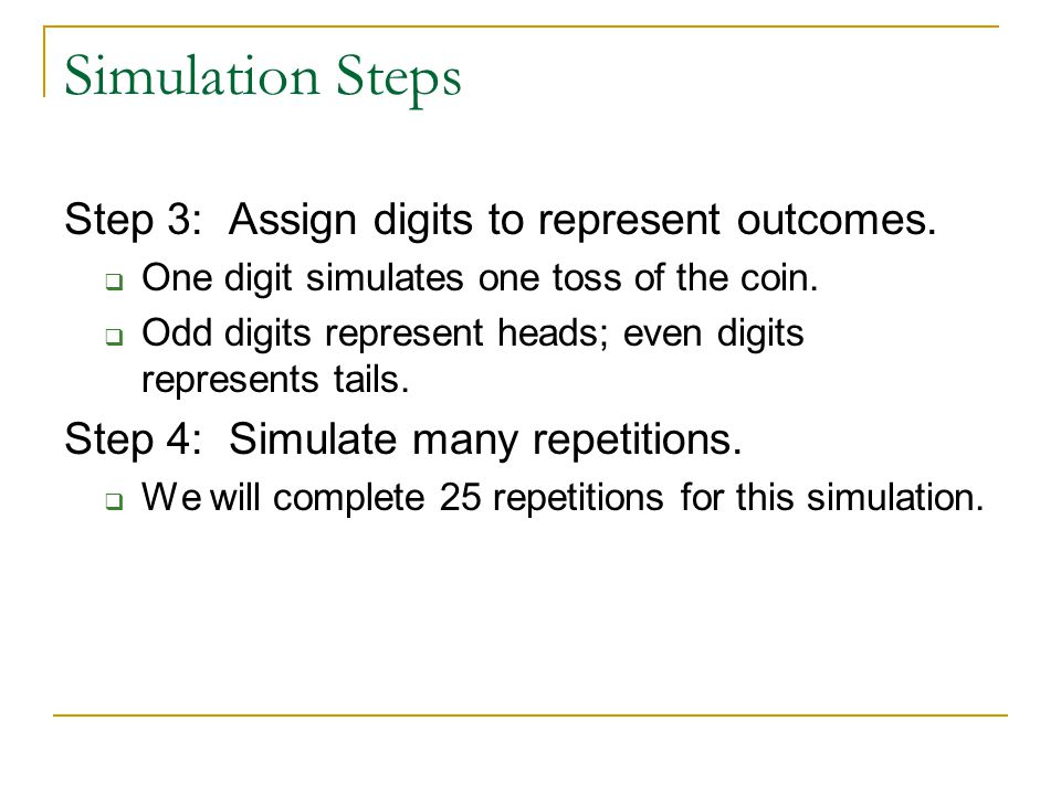 Simulation Steps Step 3: Assign digits to represent outcomes.