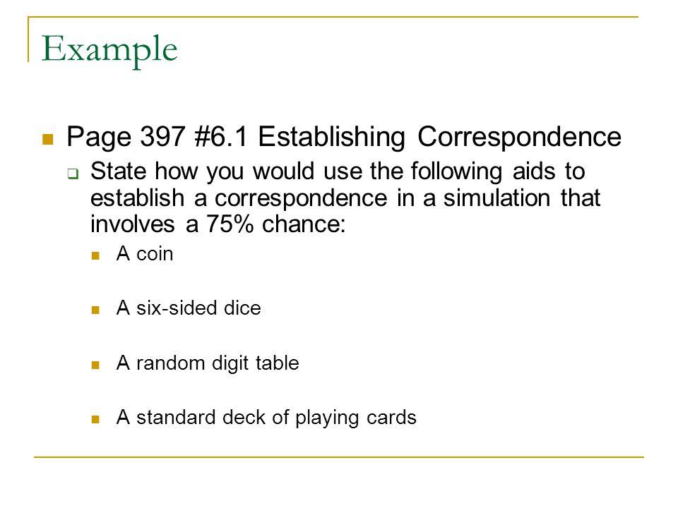 Example Page 397 #6.1 Establishing Correspondence