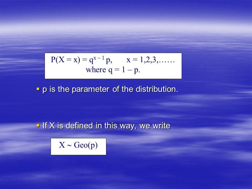 P(X = x) = qx – 1 p, x = 1,2,3,…… where q = 1 – p.
