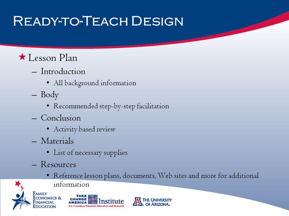 Ready-to-Teach Design