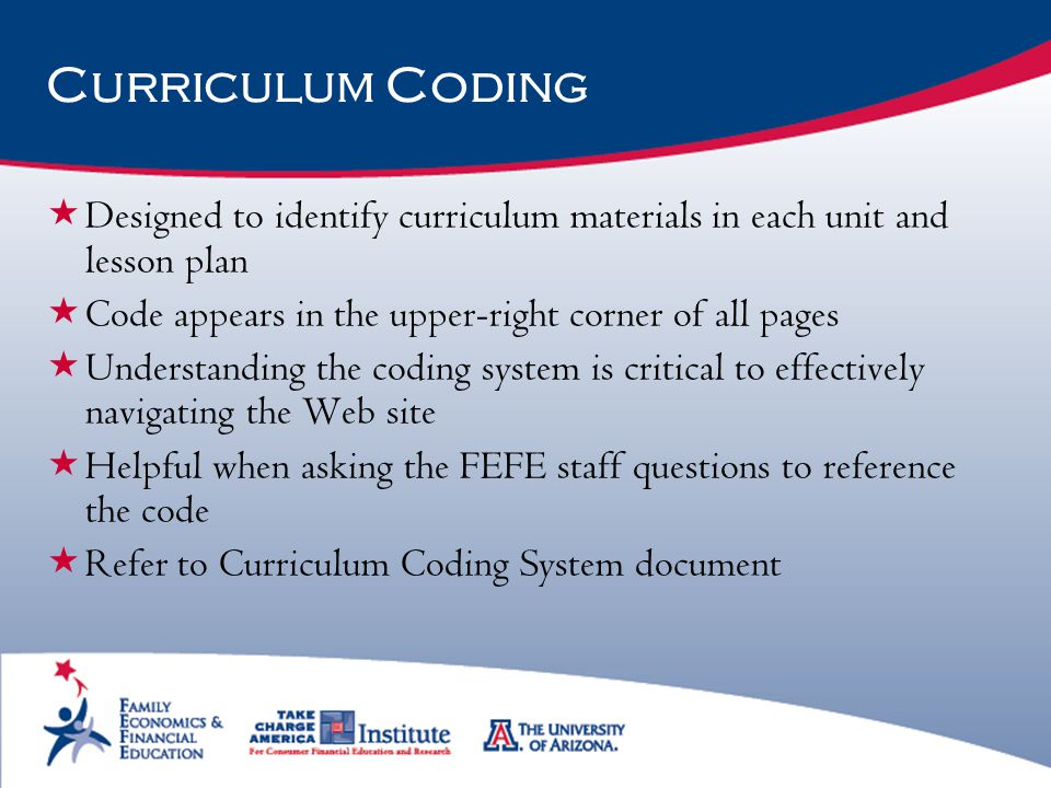 Curriculum Coding Designed to identify curriculum materials in each unit and lesson plan. Code appears in the upper-right corner of all pages.