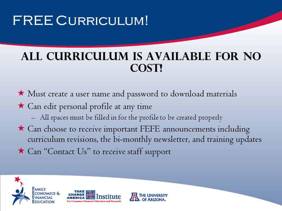 All curriculum is available for no cost!
