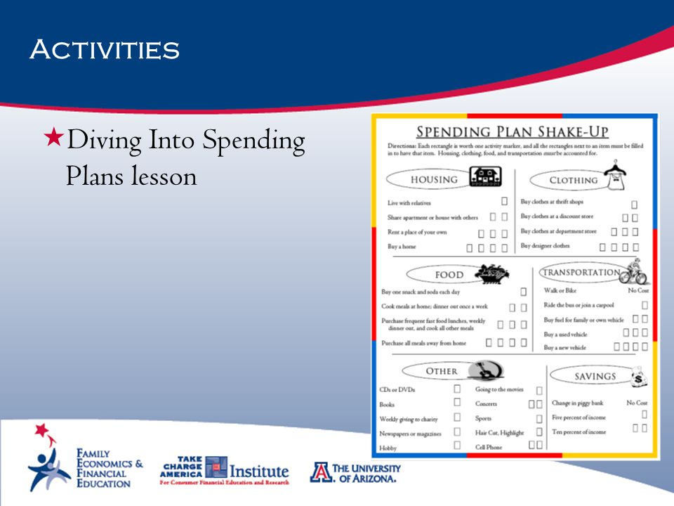 Diving Into Spending Plans lesson