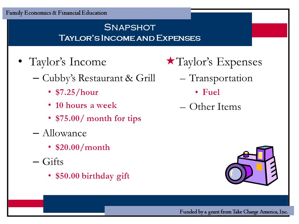 Snapshot Taylor's Income and Expenses
