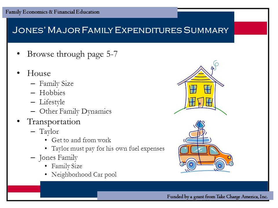 Jones' Major Family Expenditures Summary
