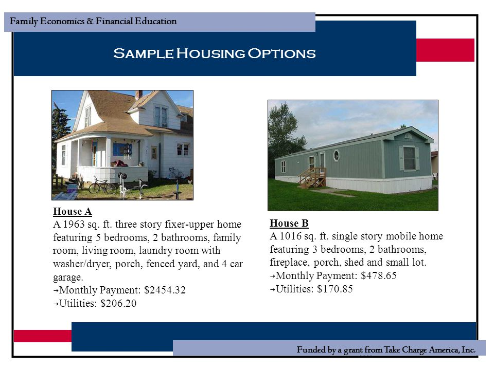Sample Housing Options