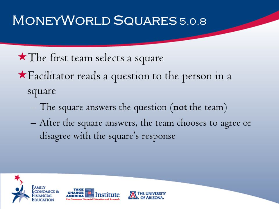 MoneyWorld Squares 5.0.8 The first team selects a square
