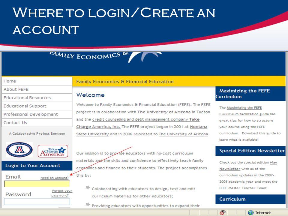 Where to login/Create an account