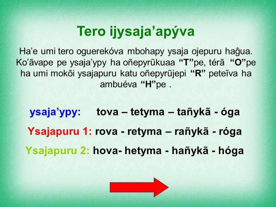 Tero ijysaja'apýva ysaja'ypy: tova – tetyma – tañykã - óga