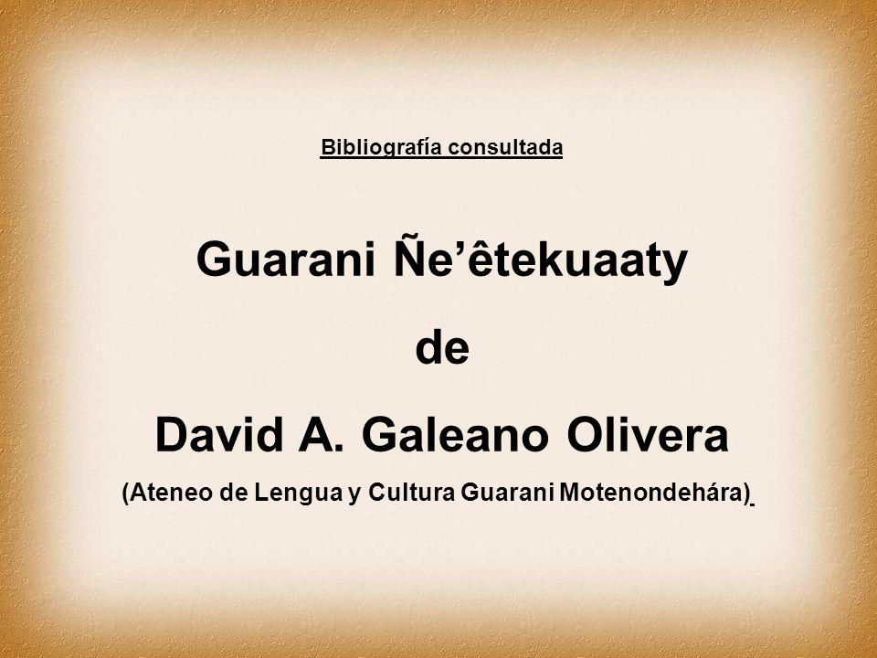 Bibliografía consultada David A. Galeano Olivera