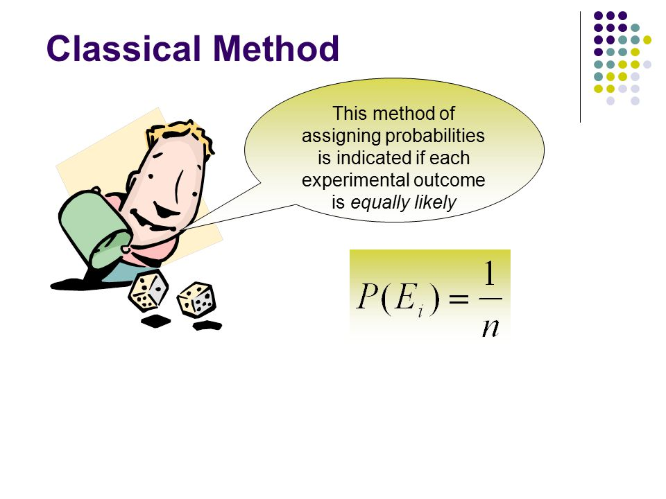 Classical Method This method of assigning probabilities is indicated if each experimental outcome is equally likely.