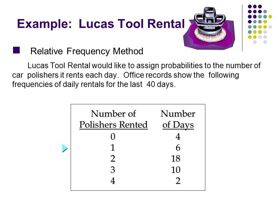 Example: Lucas Tool Rental