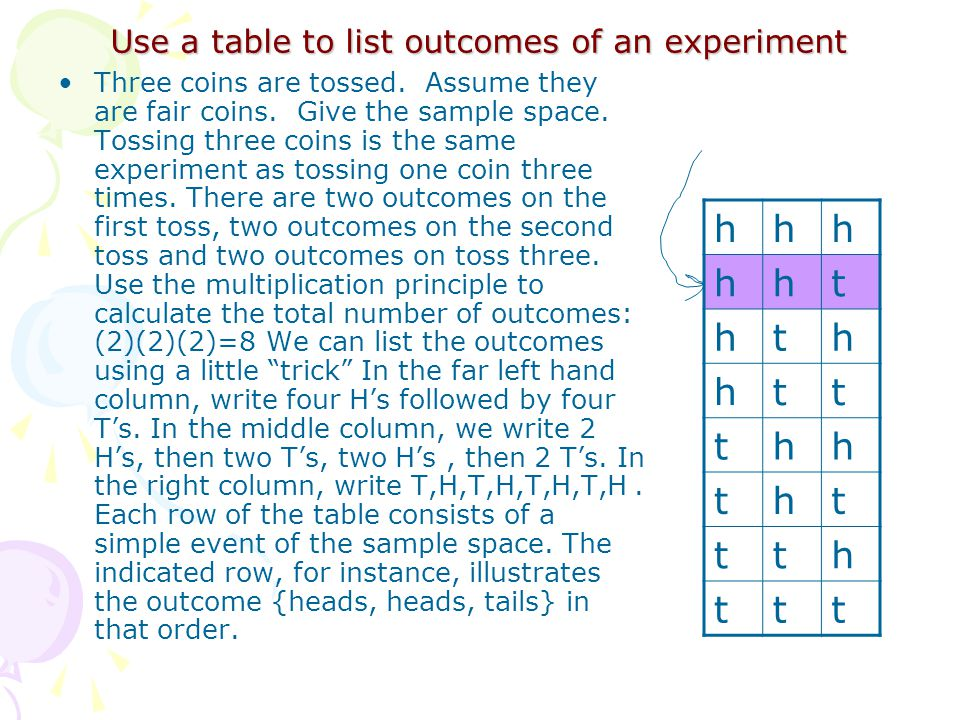 Use a table to list outcomes of an experiment