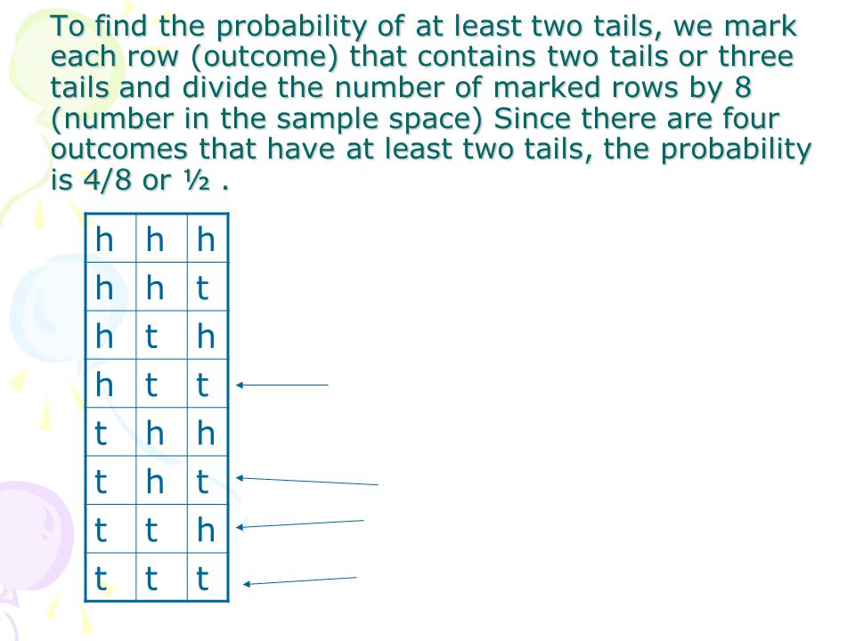 To find the probability of at least two tails, we mark each row (outcome) that contains two tails or three tails and divide the number of marked rows by 8 (number in the sample space) Since there are four outcomes that have at least two tails, the probability is 4/8 or ½ .