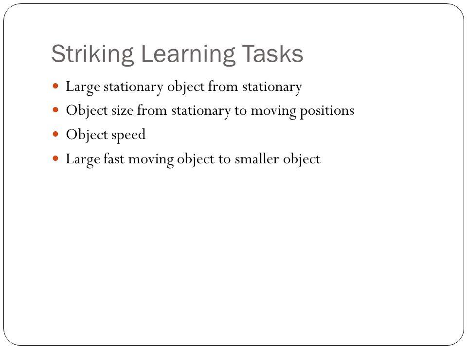Striking Learning Tasks