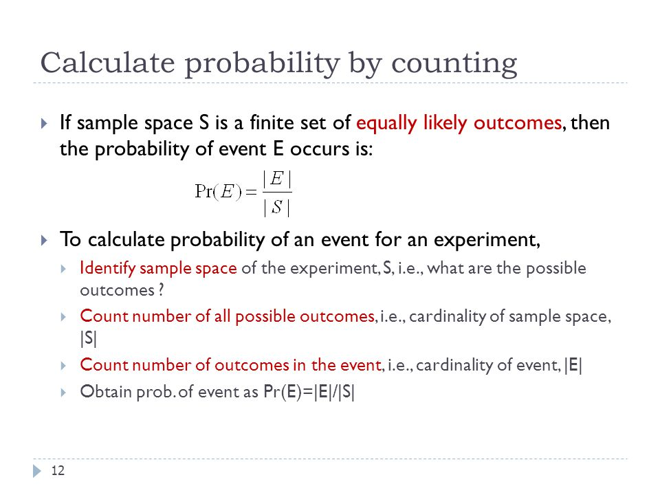 Calculate probability by counting