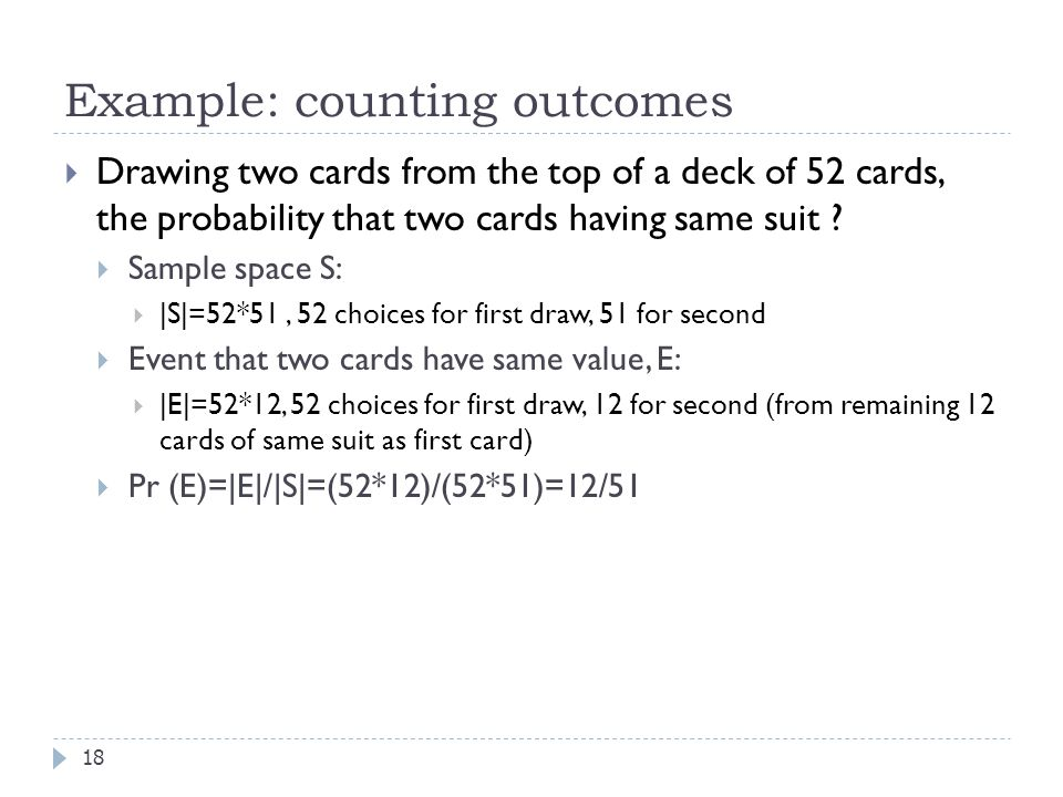 Example: counting outcomes