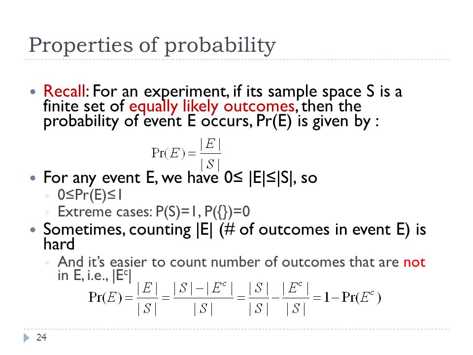 Properties of probability