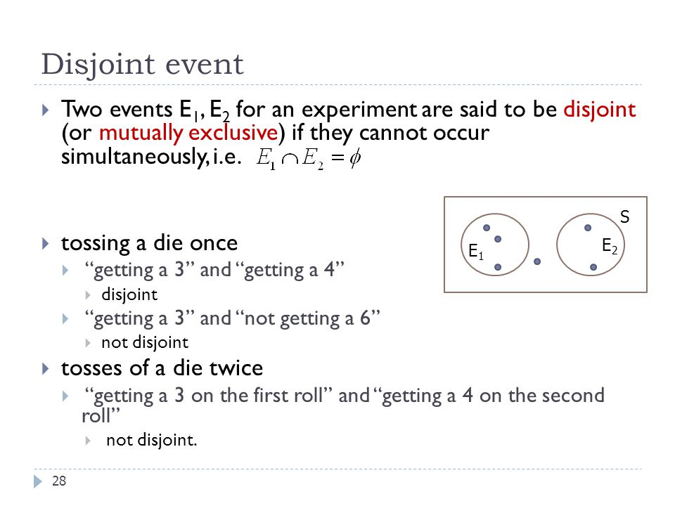 Disjoint event Two events E1, E2 for an experiment are said to be disjoint (or mutually exclusive) if they cannot occur simultaneously, i.e.