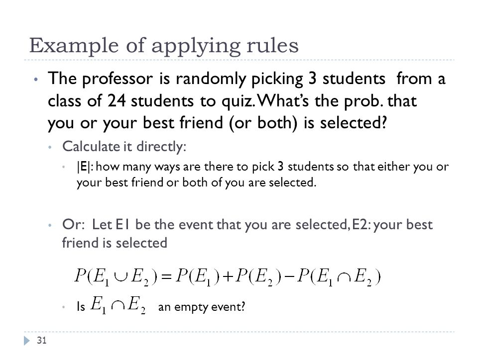 Example of applying rules