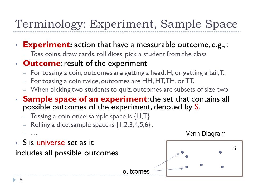 Terminology: Experiment, Sample Space
