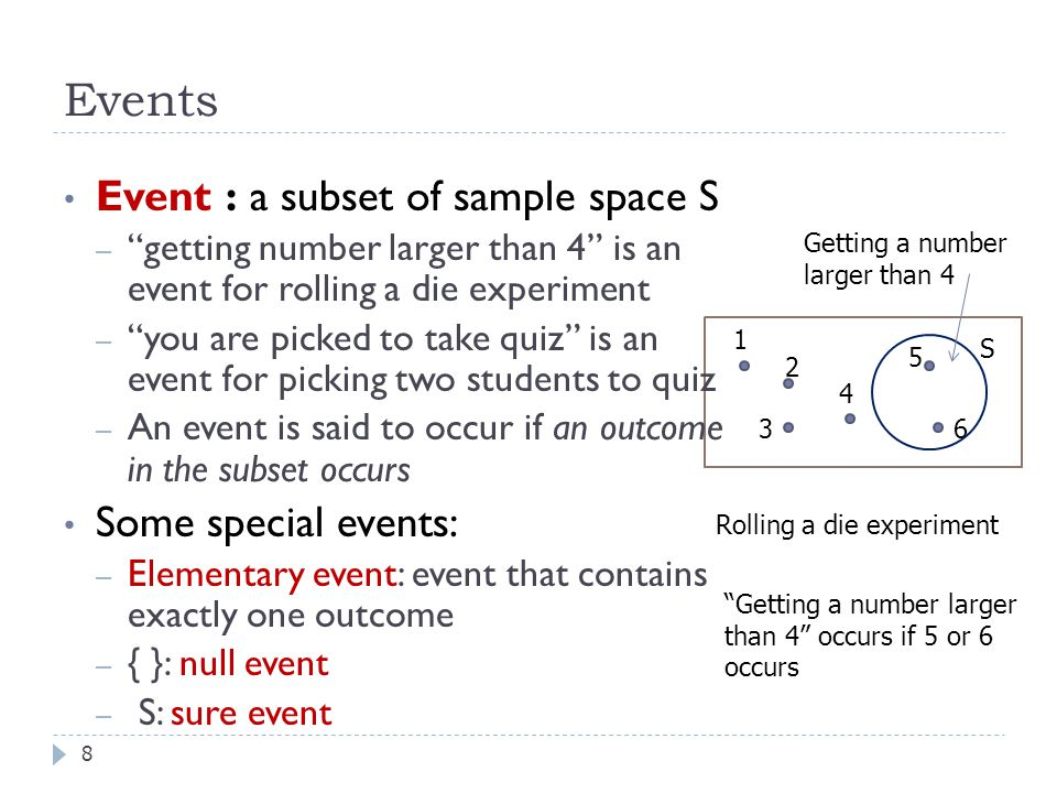 Events Event : a subset of sample space S Some special events: