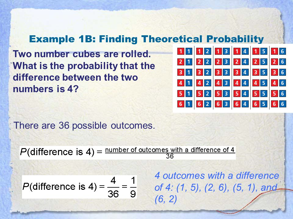Example 1B: Finding Theoretical Probability