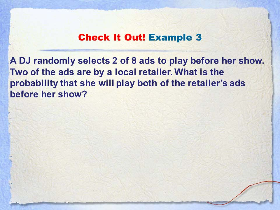 Check It Out! Example 3