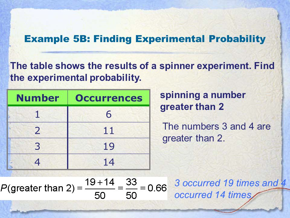 Example 5B: Finding Experimental Probability