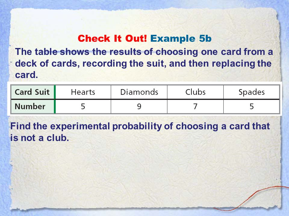 Check It Out! Example 5b The table shows the results of choosing one card from a deck of cards, recording the suit, and then replacing the card.