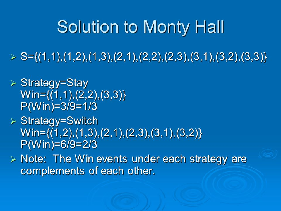 Solution to Monty Hall S={(1,1),(1,2),(1,3),(2,1),(2,2),(2,3),(3,1),(3,2),(3,3)} Strategy=Stay Win={(1,1),(2,2),(3,3)} P(Win)=3/9=1/3.