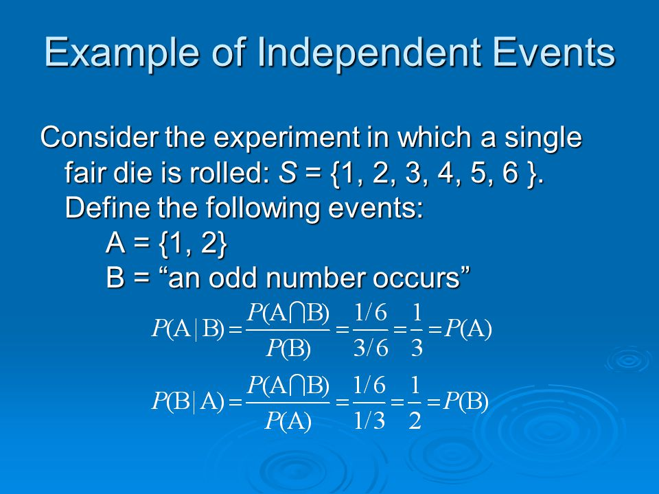 Example of Independent Events