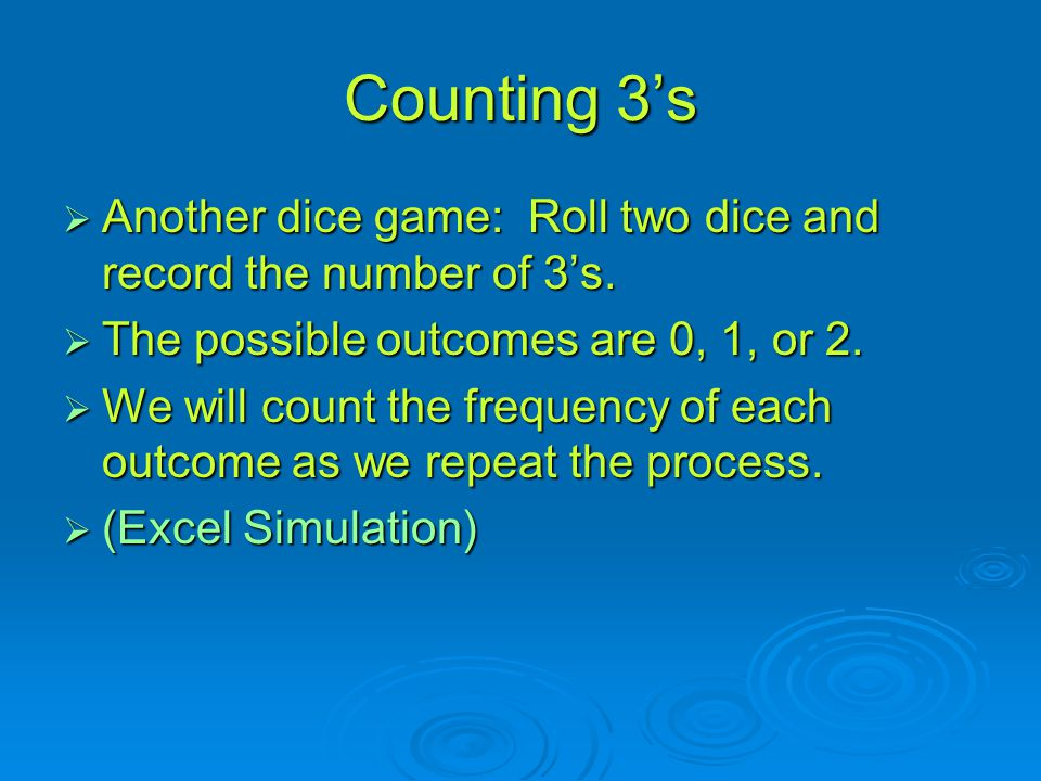 Counting 3's Another dice game: Roll two dice and record the number of 3's. The possible outcomes are 0, 1, or 2.