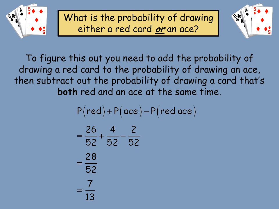 What is the probability of drawing either a red card or an ace