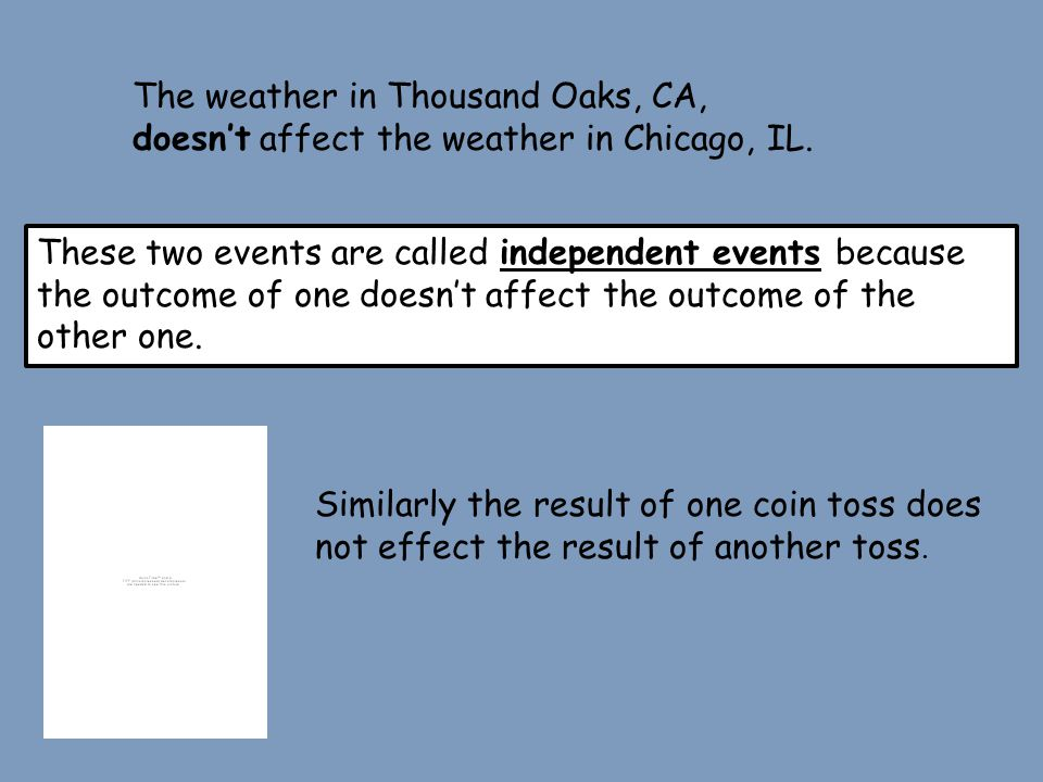 The weather in Thousand Oaks, CA, doesn't affect the weather in Chicago, IL.