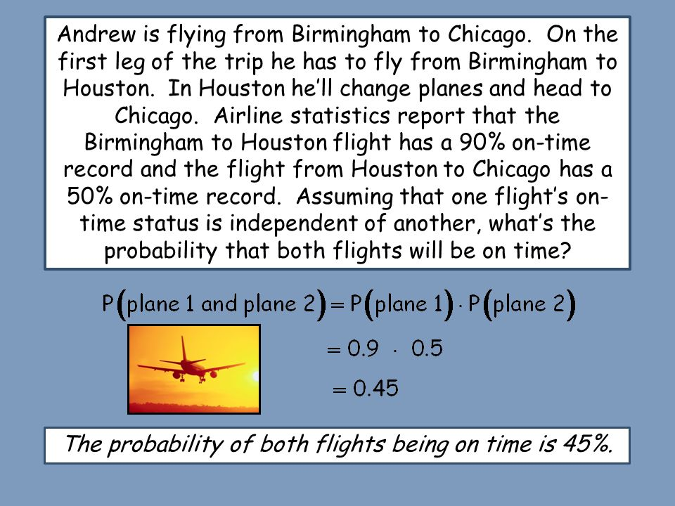 The probability of both flights being on time is 45%.