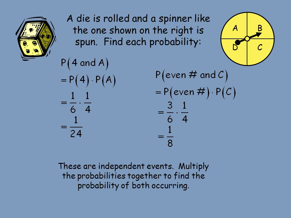 A die is rolled and a spinner like the one shown on the right is spun