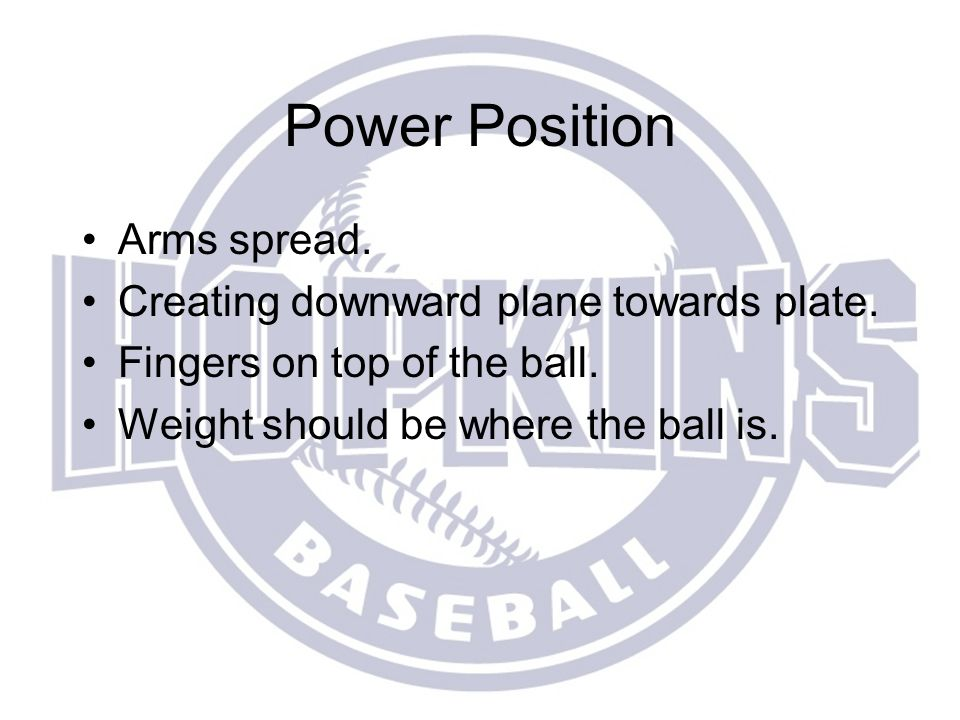 Power Position Arms spread. Creating downward plane towards plate.