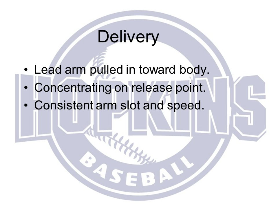 Delivery Lead arm pulled in toward body.