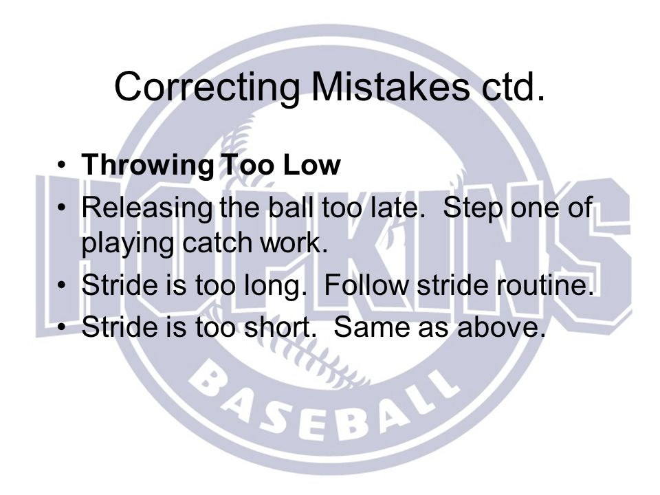 Correcting Mistakes ctd.
