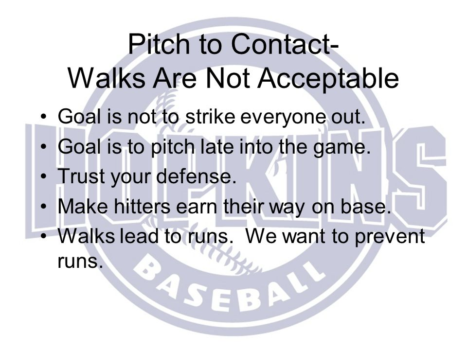 Pitch to Contact- Walks Are Not Acceptable