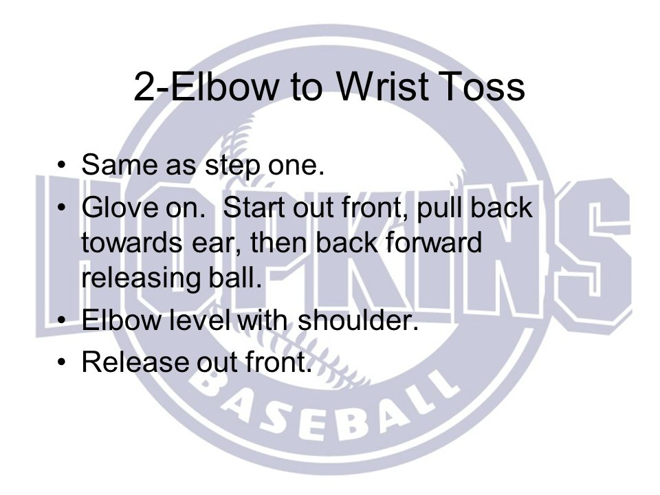 2-Elbow to Wrist Toss Same as step one.