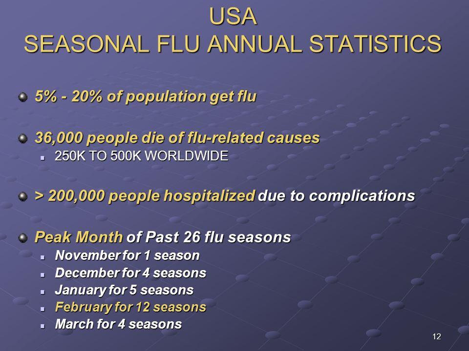 USA SEASONAL FLU ANNUAL STATISTICS