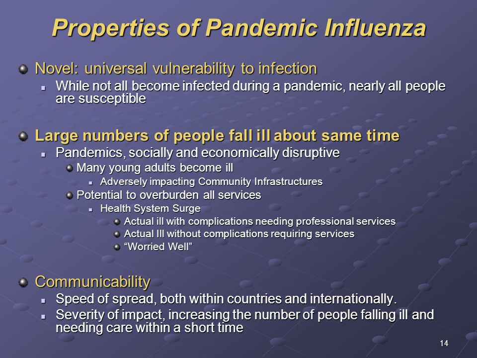 Properties of Pandemic Influenza