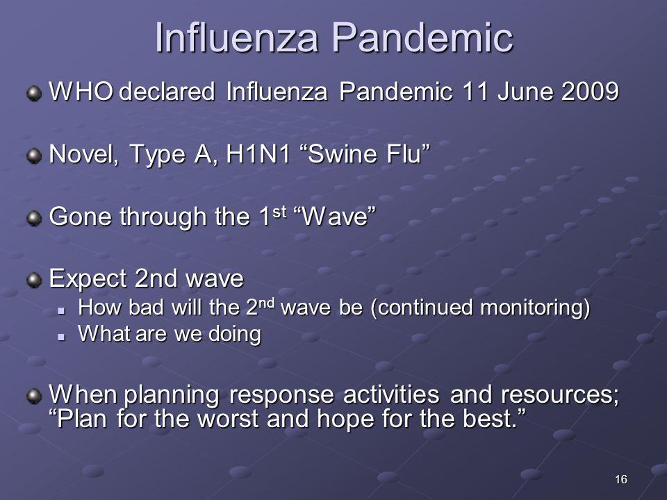 Influenza Pandemic WHO declared Influenza Pandemic 11 June 2009