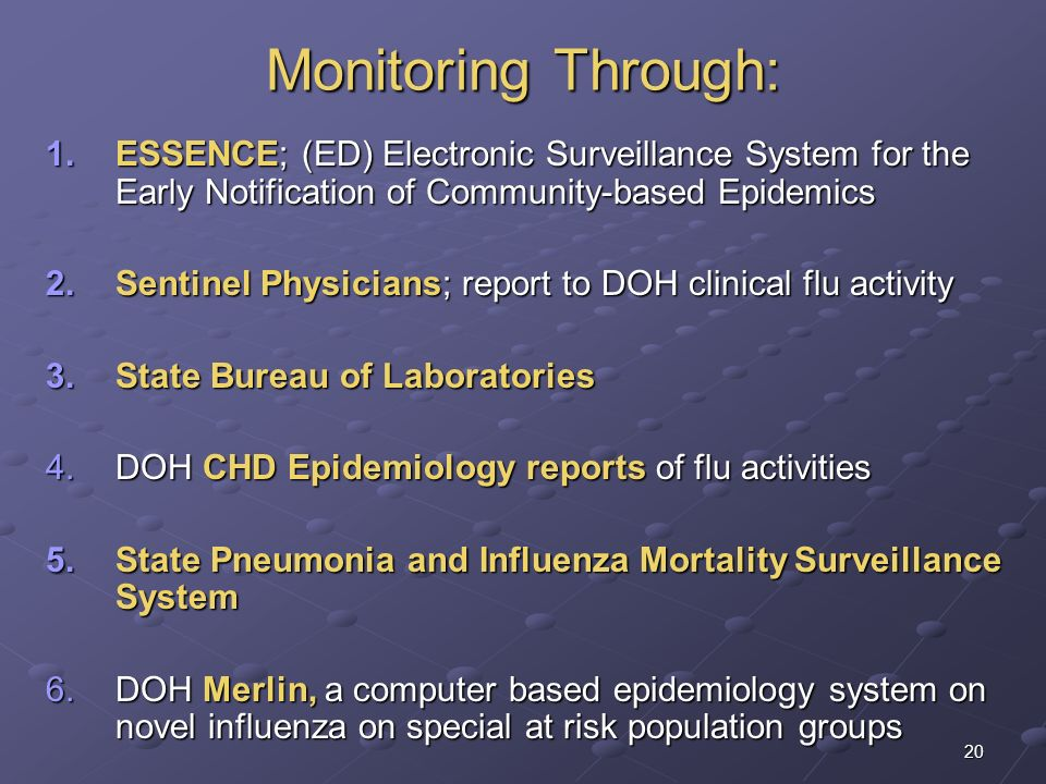 Monitoring Through: ESSENCE; (ED) Electronic Surveillance System for the Early Notification of Community-based Epidemics.